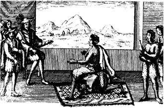 Civilizing mission - Queen Ana de Sousa Nzingha Mbande in peace negotiations with the Portuguese governor in Luanda, 1657