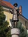 Róbert Károly statue. Detail. - Szent Bertalan St., Gyöngyös, Hungary.JPG