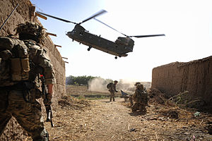 Household Cavalry Regiment - HCR soldiers move to their exfiltration HLS at the end of a search operation during their deployment to Helmand Province, Afghanistan in 2013 during Op Herrick 18.