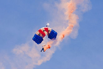 RAF Falcons - A member of the Falcons with smoke on