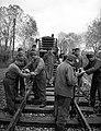 Railway, rails, sapper, boring machine, portable generator Fortepan 71282.jpg