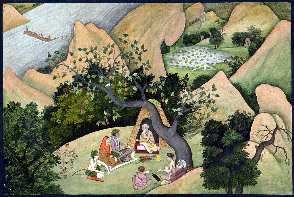 Rama, Sita, and Lakshmana at the Hermitage of Bharadvaja Page from a dispersed Ramayana (Story of King Rama), ca. 1780.jpg