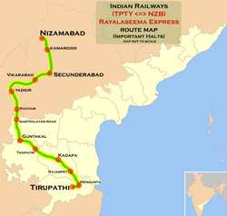 Rayalseema Express (TPTY - HYB) Route map.png