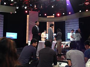 Mediacorp - A Channel NewsAsia programme called The Year Ahead hosted by Gaurav Keerthi being recorded at MediaCorp's studios