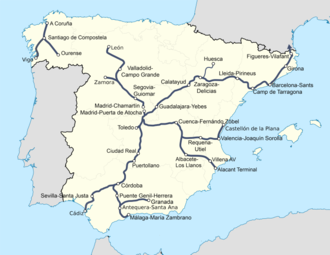 Mapa Ferroviario España 2017.Alta Velocidad Ferroviaria En Espana Wikipedia La