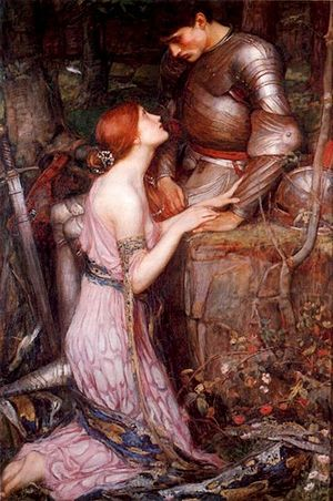 Medievalism - The Middle Ages in art: a Pre-Raphaelite painting of a knight and a lady (Lamia by John William Waterhouse, 1905).