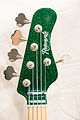 Regenerate Regenerator series 5.2 J style 5 string headstock (green sparkle).jpg