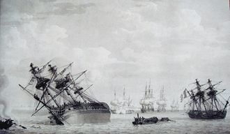 HMS Calcutta (1795) - Image: Regulus stranded on the shoals of Les Palles August 12 1809