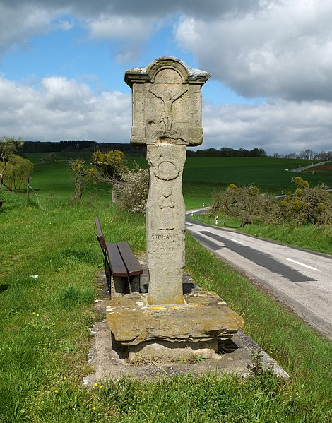 Wayside shrine near Reisdorf, Luxembourg, at the N10. Inscription: S. IOHANNES / IOHANNES / PRINTZ / SUSANNA / REEF 1839 (?)
