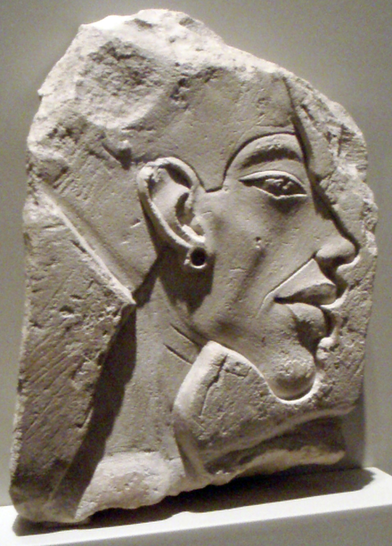 Akhenaten in the typical Amarna period style. ReliefPortraitOfAkhenaten01.png