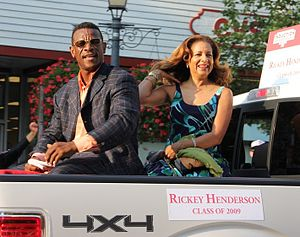 Rickey Henderson - Henderson with his wife, Pamela, at the 2011 Baseball Hall of Fame induction parade