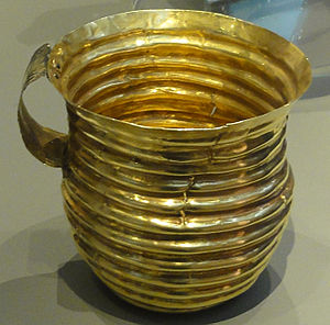 Gold working in the Bronze Age British Isles - Rillaton Cup, one of two similar cups found in Britain.