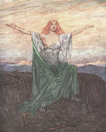 The valkyrie Sigrdrifa says a pagan Norse prayer in Sigrdrifumal; illustration by Arthur Rackham Ring48.jpg