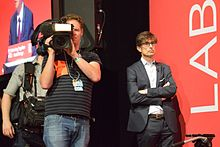 Peston with a film crew at the 2016 Labour Party Conference