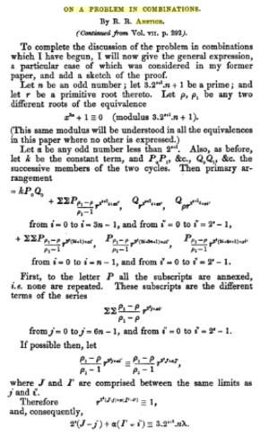Robert Richard Anstice - First page of the second part of the article On a problem of combinations (1853) from the Cambridge and Dublin Mathematical Journal.