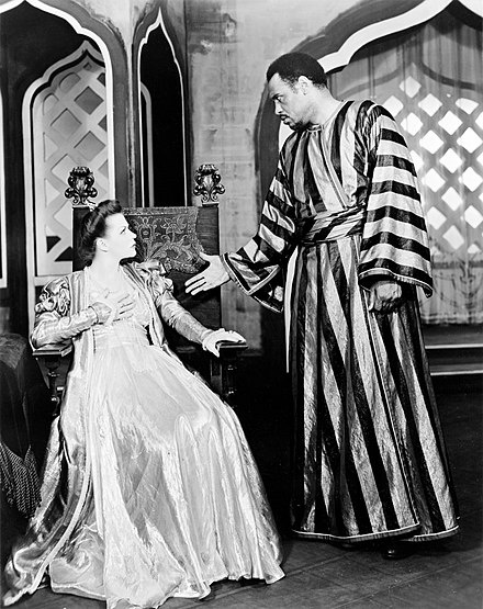 Paul Robeson with Uta Hagen in the Theatre Guild production of Othello (1943-44) Robeson Hagen Othello.jpg