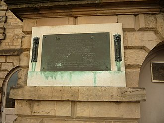 Robin Hood Battalion - Plaque on the terrace of Nottingham Castle commemorating the raising of the Robin Hood Rifles in 1859
