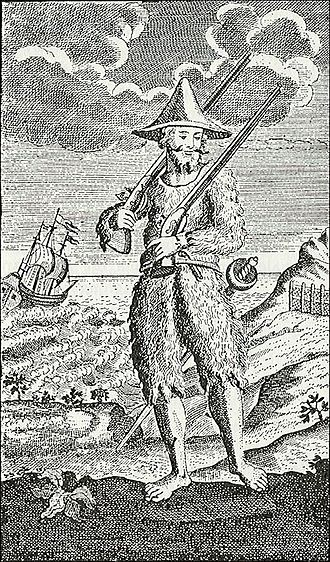 Alexander Selkirk - An illustration of Crusoe in goatskin clothing shows the influence of Selkirk