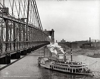 John A. Roebling Suspension Bridge - Roebling Suspension Bridge in 1906