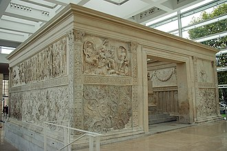 Ara Pacis - View of the opposite side Tellus Panel at the left and Roma Panel at the right