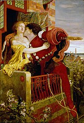 A painting of a woman dressed in clothing circa 1600 standing on a balcony, being kissed by a man who has climbed up to her from outside the building