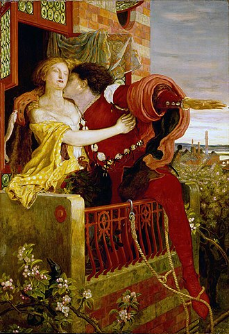 Romeo and Juliet - An 1870 oil painting by Ford Madox Brown depicting the play's famous balcony scene