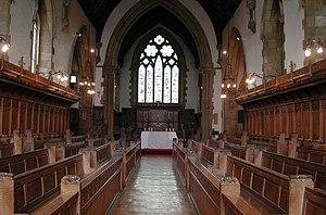 Herbert Armitage James - Rossall School chapel, where a memorial tablet to James was erected in 1933.
