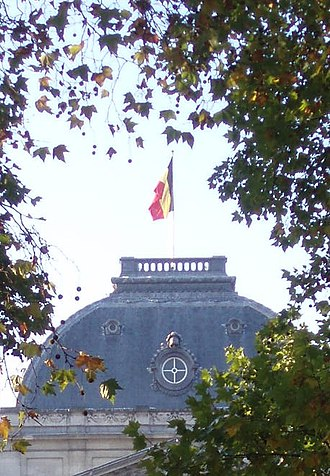 Flag of Belgium - The flag on the Royal Palace of Brussels.