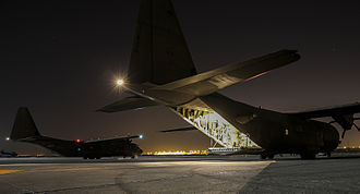 Operation Shader - Two Royal Air Force C-130J Hercules aircraft in Iraq, after being unloaded of vital humanitarian supplies on 9 September 2014.