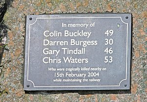 Tebay rail accident - Close-up image of the plaque to the workers lost in the accident