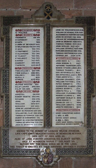 Hexham Abbey - Hexham Abbey Rulers (674 A.D. to 1945) on a memorial tablet inside the Abbey
