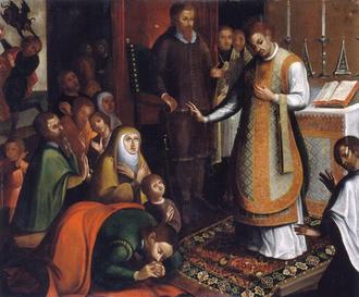Theotonius - Saint Theotonius celebrates Mass before King Afonso I of Portugal.