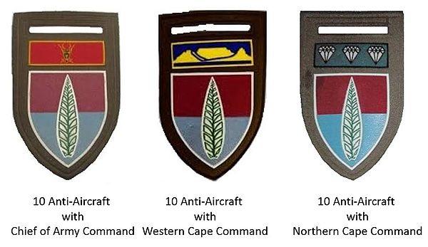 SADF 10 Anti aircraft Regiment shoulder flashes under various commands