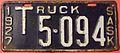 SASKATCHEWAN 1927 - TRUCK LICENSE PLATE - Flickr - woody1778a.jpg