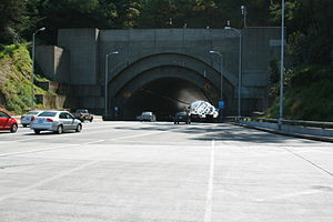 Yerba Buena Island - A double-deck tunnel carries Bay Bridge traffic between the eastern and western spans, seen here westbound