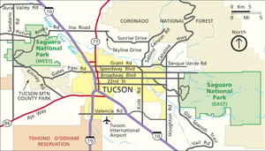 Situation map of Saguaro National Park, Arizon...