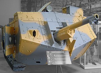 Tank gun - French Saint-Chamond tank of 1917, with 75 mm gun in nose