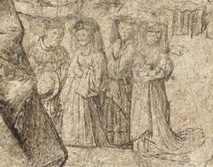 Saint Barbara (van Eyck) - Detail showing the three women to the left of the saint