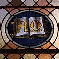 Saint Joseph Church (Plain City, Ohio) - interior, stained glass, Alpha & Omega.jpg
