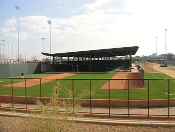 English: The batting cages for the Colorado Ro...