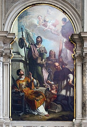 "Girolamo Brusaferro - San Salvador, Venice. ""The Apostle James between Saints Lawrence, Mary Magdalene and Francis de Sales"""