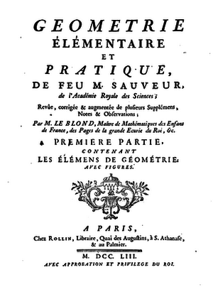 Joseph Sauveur - Frontpage of Geometrie (1753) by Joseph Sauveur, edited and augmented by Guillaume Le Blond