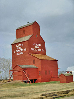 Last remaining prairie grain elevators in the Scandia district. Scandia