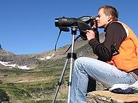 Scanning the cliffs near Logan Pass for mountain goats (Citizen Science) (4427399123).jpg