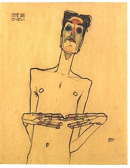 Schiele - Osen mit aneinandergelegten Fingerspitzen - 1910