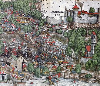 Swabian War - Contemporary woodcut of the battle of Dornach showing the castle of Dorneck, the main battle and the slaughter of the fleeing troops by the Swiss at the river Birs
