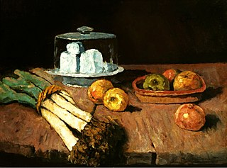 Still life with leeks, cheese and apples