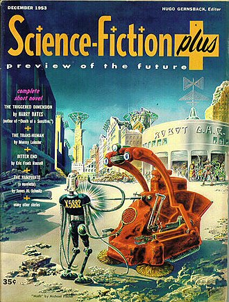 Hard science fiction - Frank R. Paul's cover for the last issue (December 1953) of Science-Fiction Plus