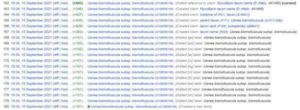 Screenshot of multiple Wikidata edits in the same minute during item creation - SuccuBot 15 Sept 2021.png