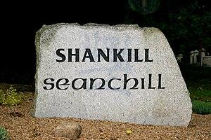 Shankill, Dublin - Bilingual welcome stone in English and Irish.